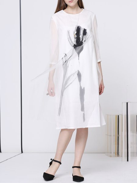White Crew Neck Casual Printed A-line Midi Dress
