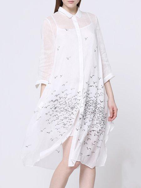 Statement 3/4 Sleeve Two Piece Shirt Dress