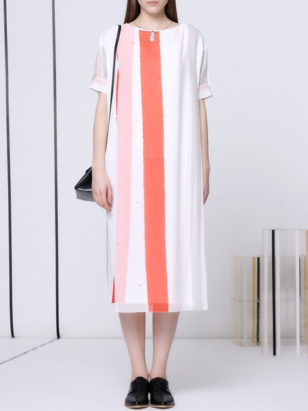 White Shift Statement Midi Dress