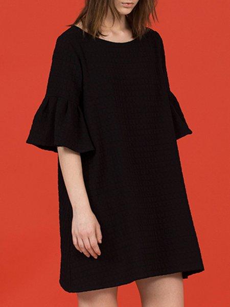 Black Ruffled Shift Plain Simple Mini Dress