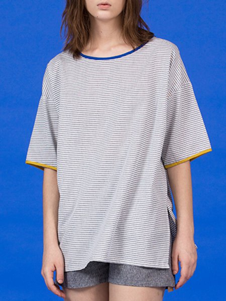 Casual Stripes Cotton Half Sleeve Crew Neck T-Shirt
