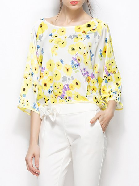 Yellow Chiffon Floral-print Sweet Blouse