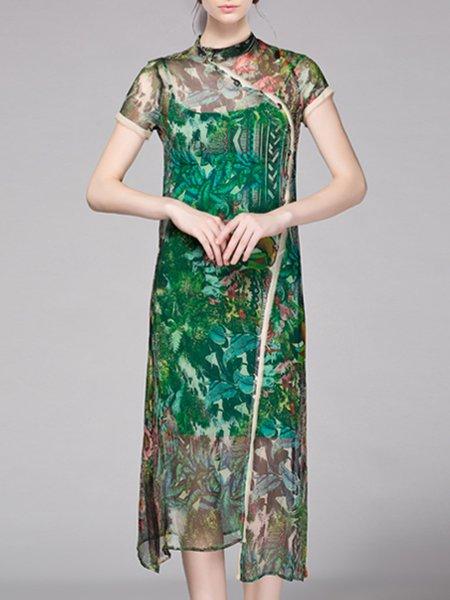 Floral-print Elegant Short Sleeve Floral Midi Dress