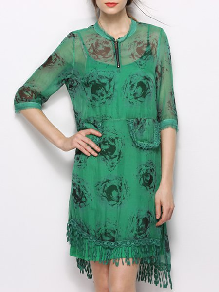 Green Floral Vintage Fringed Midi Dress
