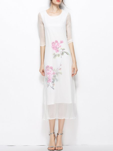 White Crew Neck Half Sleeve Floral Midi Dress