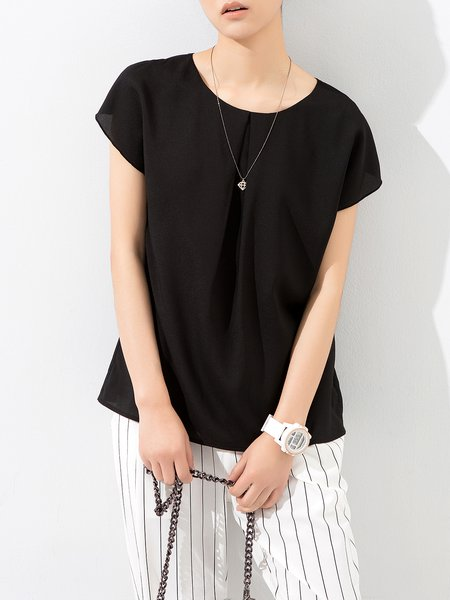 Black Cutout Plain Chiffon Simple Tanks And Cami