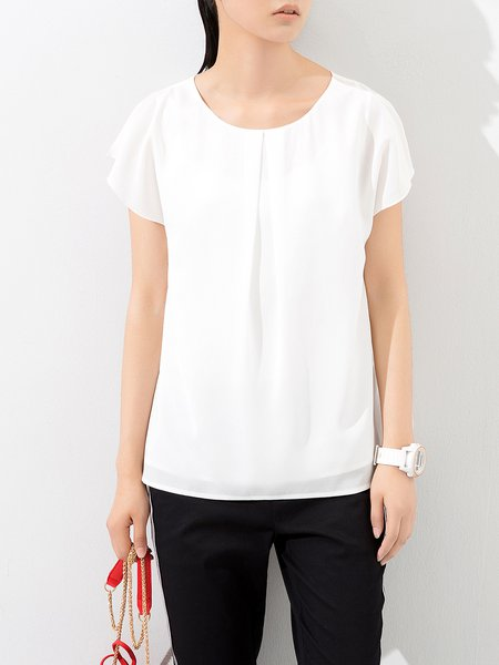 Sleeveless Chiffon Simple Cutout Plain Tank