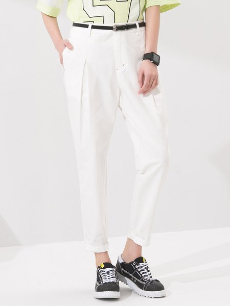 White Casual Cotton Pockets Straight Leg Pants