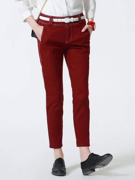 Wine Red Casual Cotton Straight Leg Pants