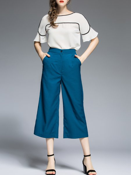 Work Two Piece Short Sleeve Pockets Jumpsuit