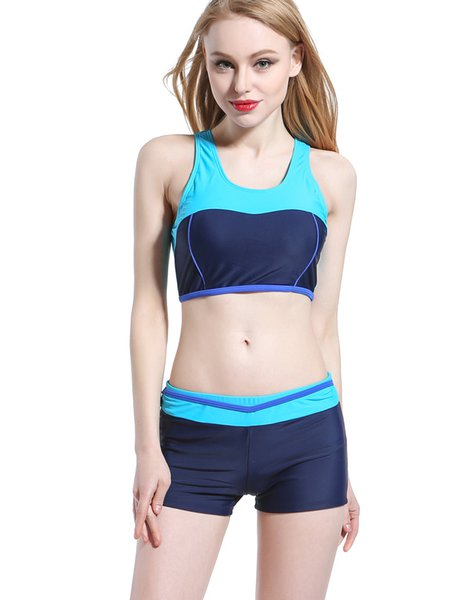 Blue Straped Wireless One-Pieces&Tankini