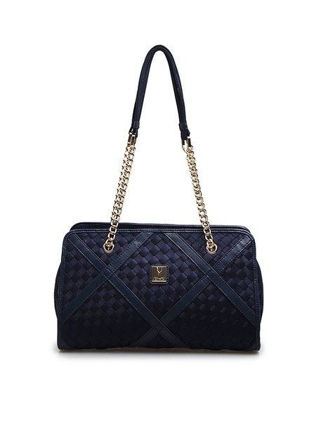Dark Blue Nylon Zipper Shoulder Bag