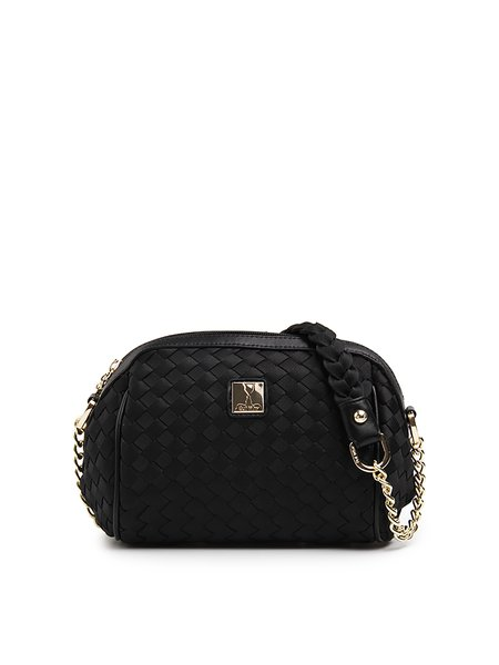 Black Mini Braided Nylon Casual Shoulder Bag