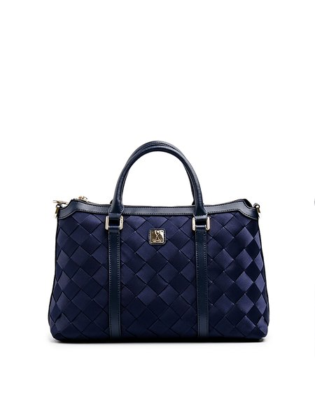 Dark Blue Casual Medium Satchel