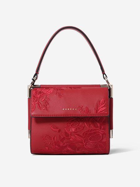 Red Retro Fold-over Flat Top Embroideried Cowhide Leather Shoulder Bag