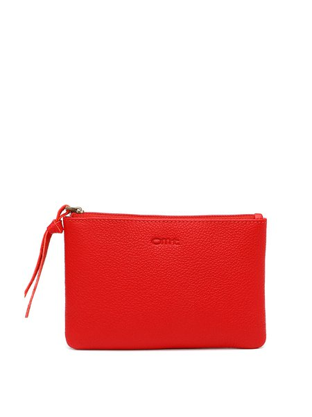 Red Zipper Cowhide Leather Clutch