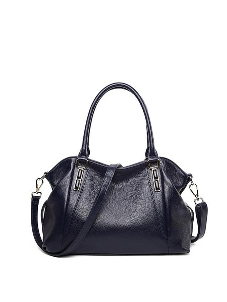 Cowhide Leather Casual Medium Zipper Satchel