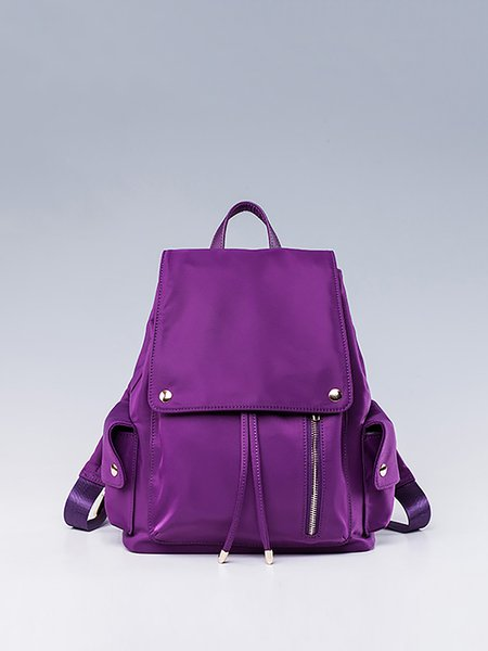 Purple Nylon Medium Casual Backpack