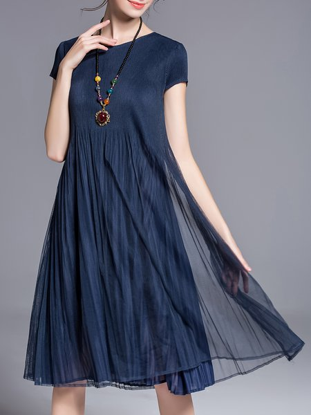 Dark Blue Pleated Casual Midi Dress
