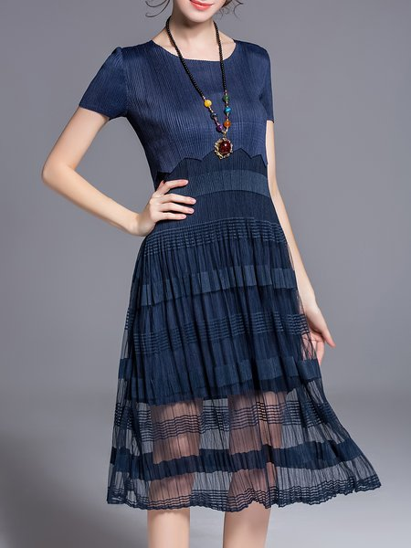 Short Sleeve A-line Casual Crew Neck Paneled Midi Dress
