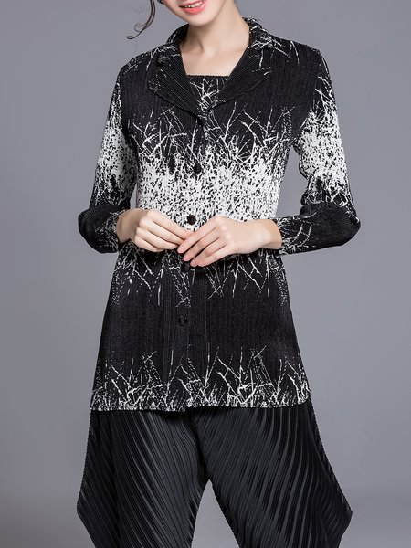 Black Casual Two Piece Lapel Polyester Coat