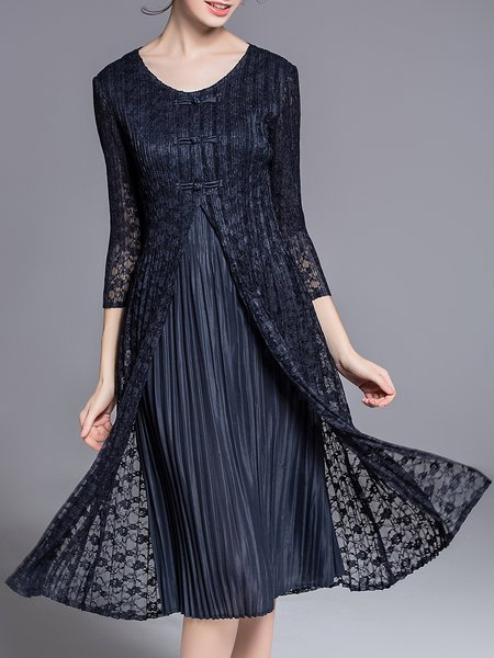3/4 Sleeve A-line Crew Neck Elegant Midi Dress