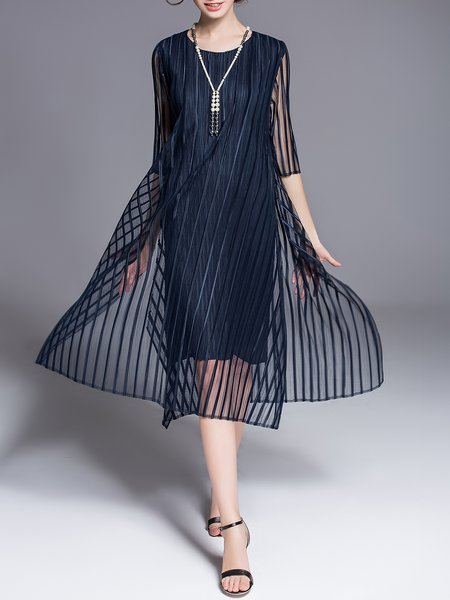 Elegant Half Sleeve Crew Neck A-line Slit Midi Dress