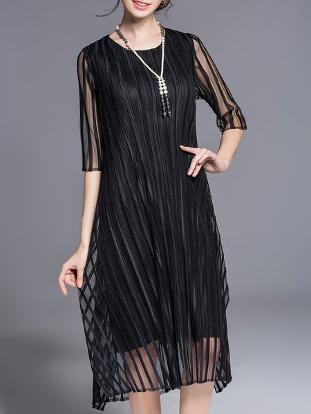 Polyester Elegant Half Sleeve Crew Neck A-line Midi Dress