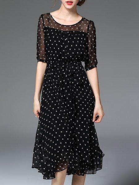 Black A-line Printed Crew Neck Half Sleeve Midi Dress