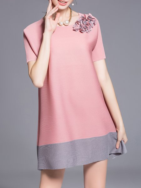 Casual Appliqued Short Sleeve Polyester Tunic