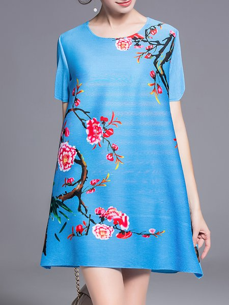 Blue Shift Crew Neck Floral Casual Mini Dress