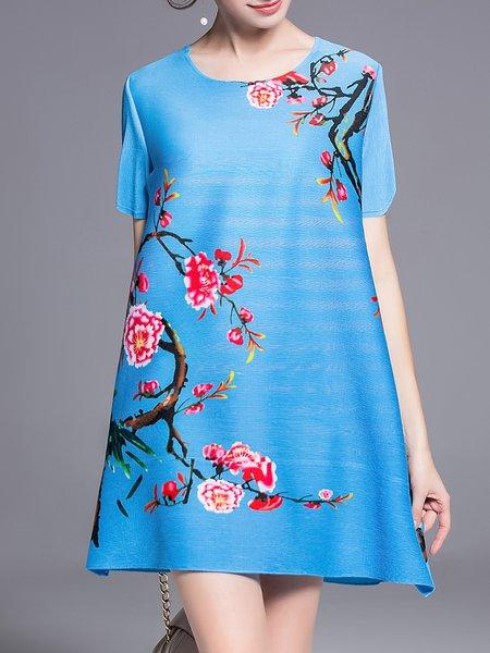 Printed Casual Short Sleeve Mini Dress