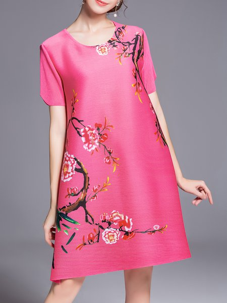Floral Short Sleeve Printed Casual Mini Dress