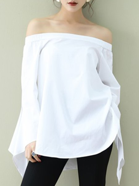 Off Shoulder Casual Long Sleeve Blouse