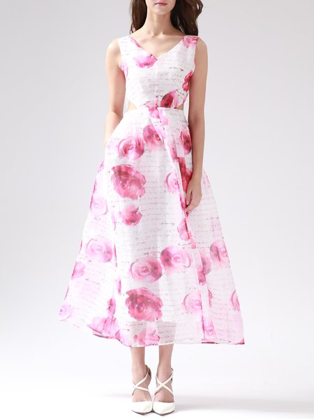 Pink Polyester A-line Evening V Neck Midi Dress