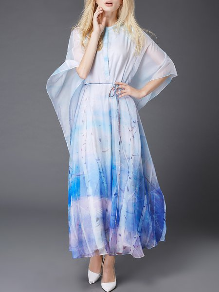 Blue Polyester Resort Maxi Dress
