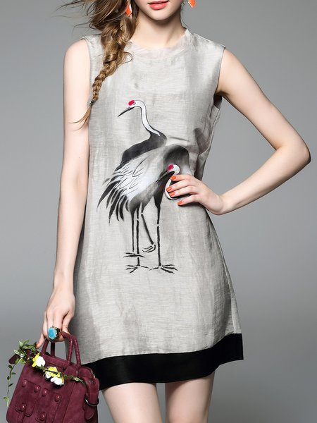 Gray Crew Neck Sleeveless A-line Mini Dress