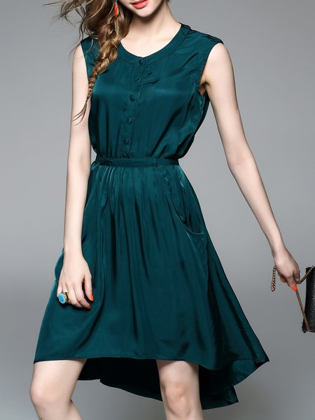 Simple A-line Sleeveless Shirt Dress