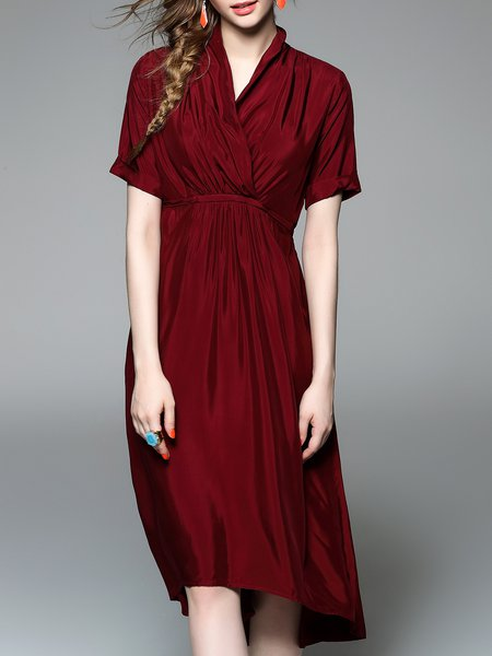 Burgundy Surplice Neck Short Sleeve Asymmetrical Gathered Wrap Dress