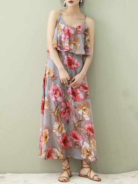 Pink Polyester Casual Spaghetti Maxi Dress