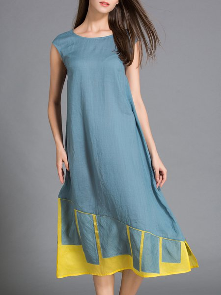 Casual Silk Geometric Sleeveless Crew Neck Midi Dress