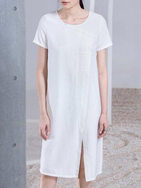 Plain Slit Viscose Short Sleeve Simple Midi Dress