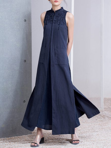 Dark Blue A-line Sleeveless Cotton Maxi Dress