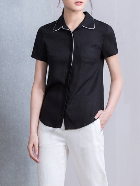 Black Short Sleeve H-line Blouse with Pockets