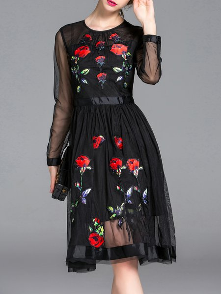 Black Elegant Floral Midi Dress