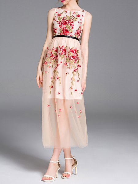Pink Sleeveless Crew Neck Embroidered Floral Midi Dress