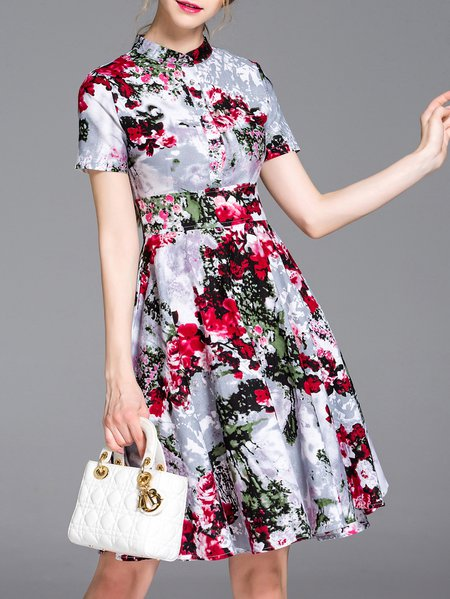 Multicolor Casual Floral A-line Midi Dress