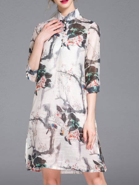 Multicolor Stand Collar A-line Floral-print Half Sleeve Midi Dress