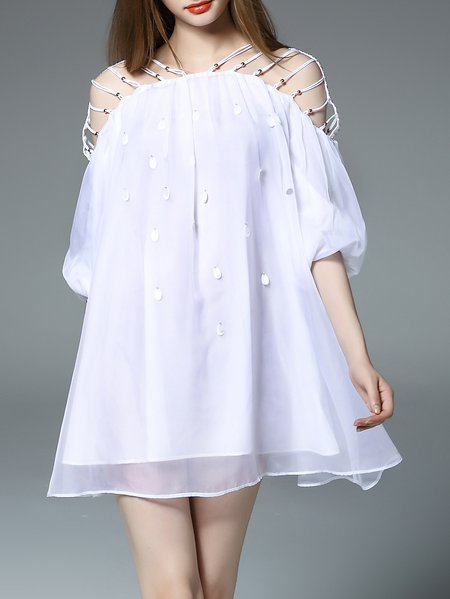 White Balloon Sleeve Polyester Mini Dress