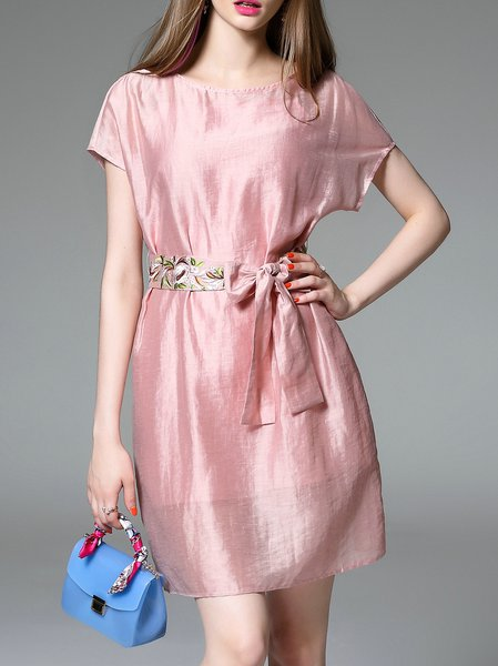 Pink Casual Embroidered Crew Neck Mini Dress